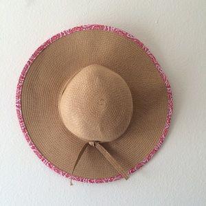 D&Y Wide Straw hat w/ Red Paisley Brim Tie Floppy